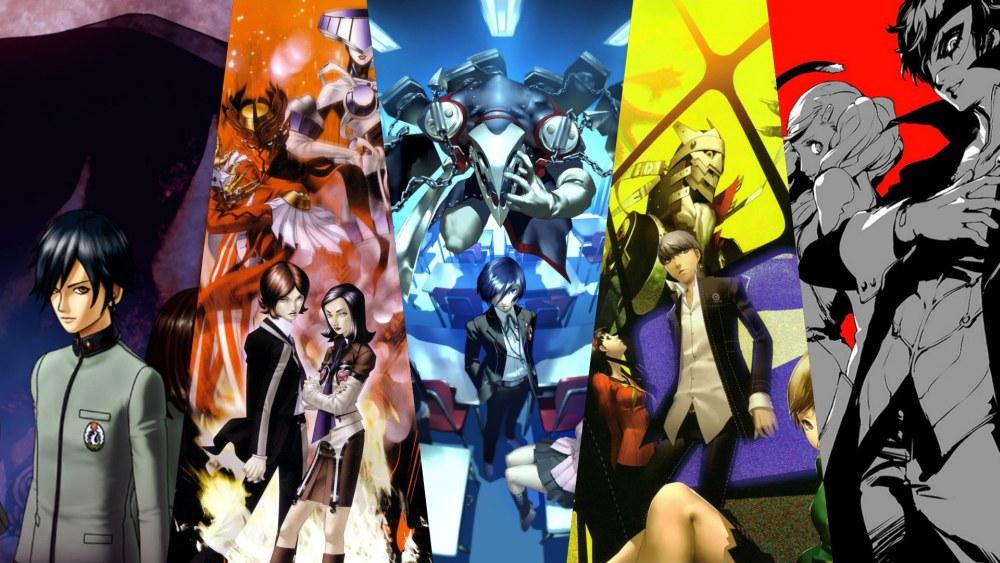 Grafika z okładkami gier Persona 1-5