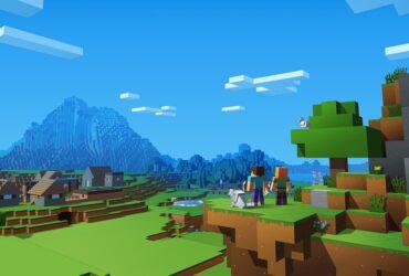 Screenshot z krajobrazu w grze Minecraft z postaciami z gry