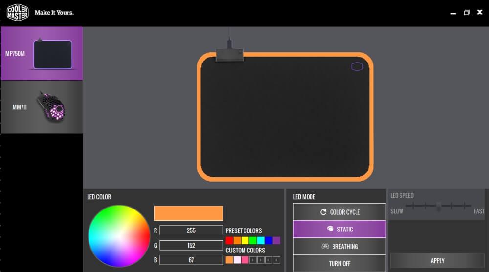Oprogramowanie (software) Cooler Master do zarządzania podświetleniem podkładki