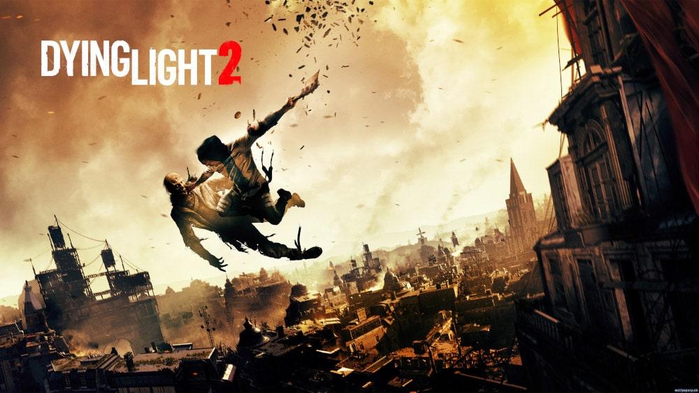 Grafika promująca grę Dying Light 2 z postacią atakującą zombie z góry