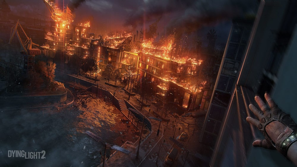 Oficjalny zrzut ekranu z Dying Light 2 ukazujacy płonące miasto