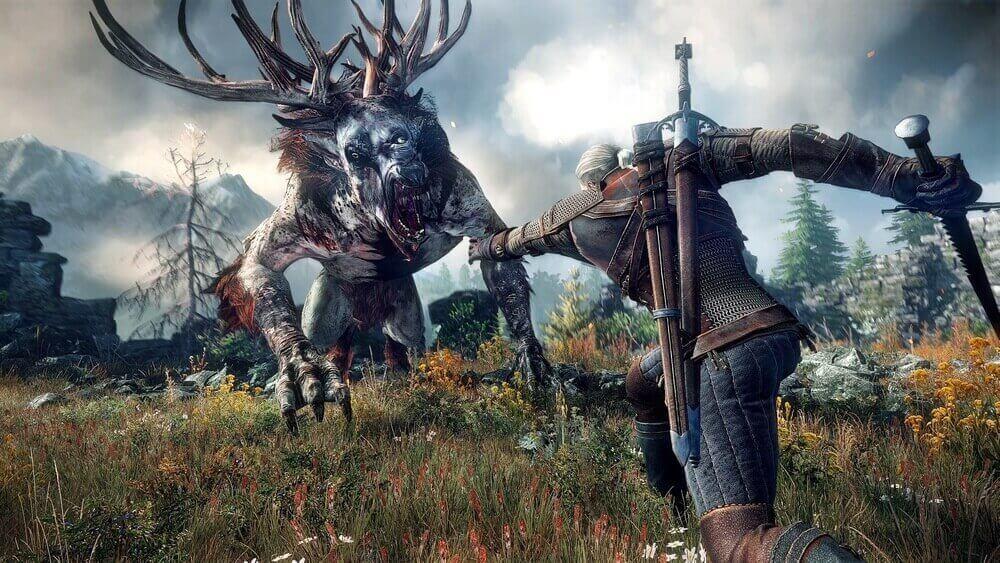 Wiedźmin 3 - Geralt walczący z biesem
