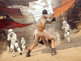 Rey Skywalker walcząca z klonami