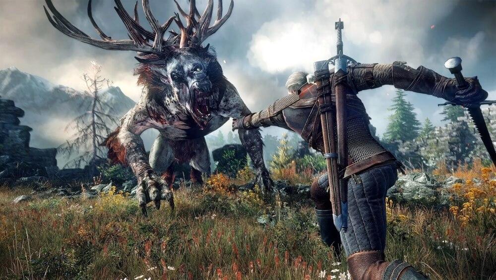 Geralt z Wiedźmina 3 walczący z Biesem