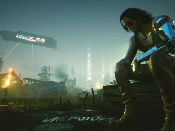 Artwork z gry Cyberpunk 2077 - Johnny Silverhand na tle Night City