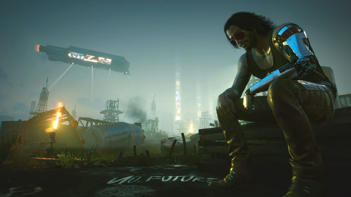 Artwork z gry Cyberpunk 2077 - Johnny Silverhand na tle Night City