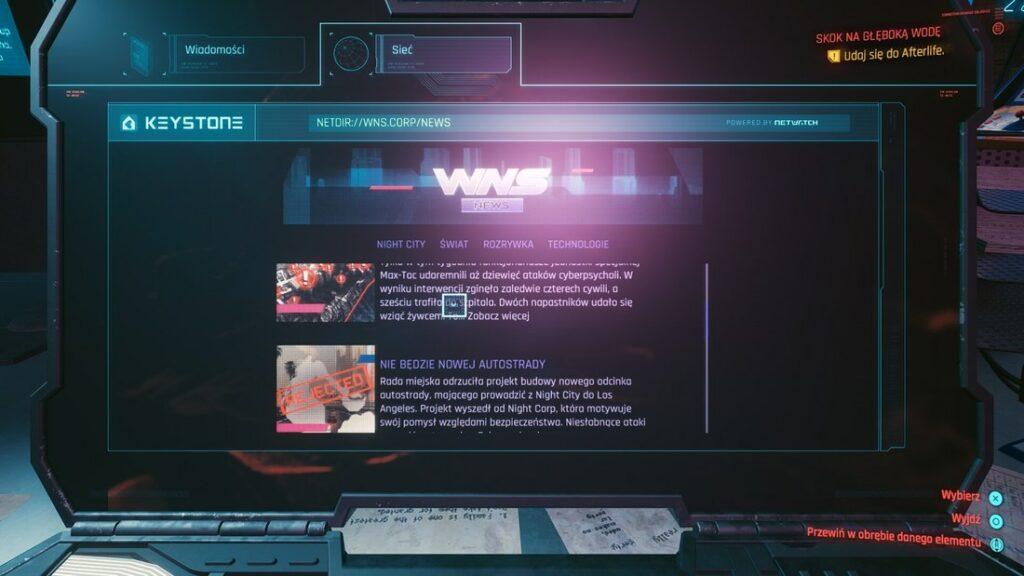 Ekran komputera w Cyberpunku 2077