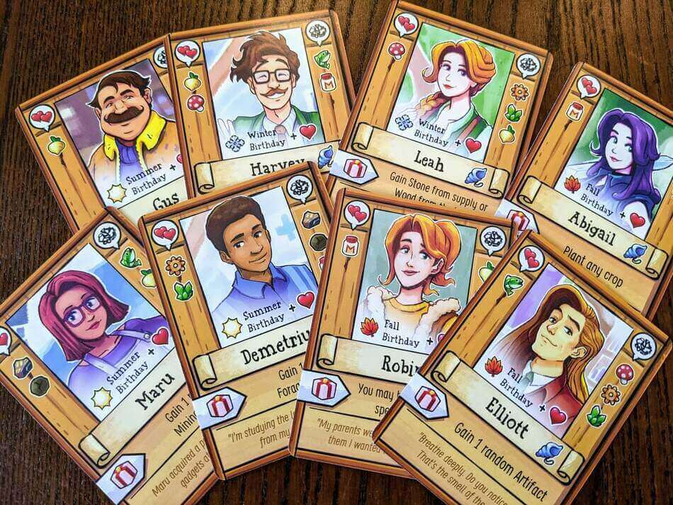 Karty postaci w Stardew Valley: The Board Game