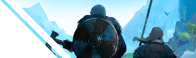 Baner z postaciami z gry Valheim