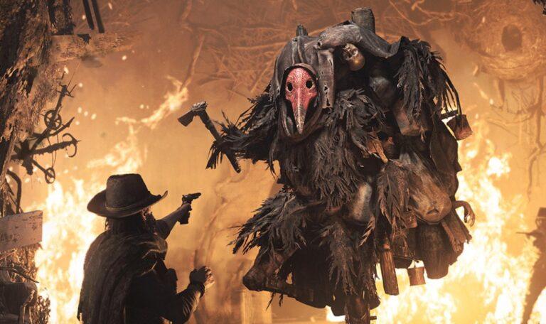 Boss Scrapbeak oraz celujący w niego Łowca z gry Hunt: Showdown