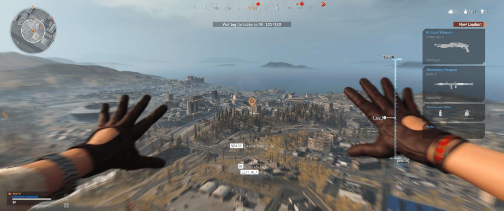 Skok ze spadochronem w grze COD Warzone