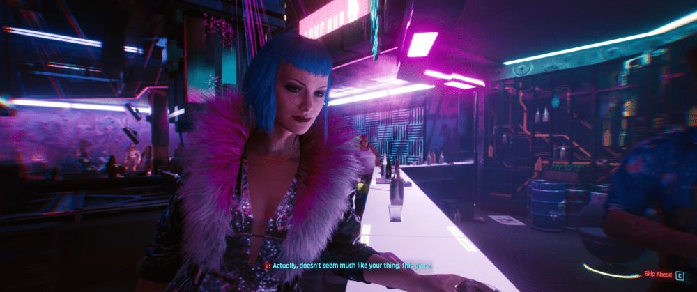 W środku Lizzie's Bar w grze Cyberpunk 2077