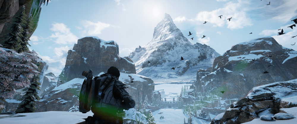 Mroźne szczyty podziwiane w grze Gears of War 5