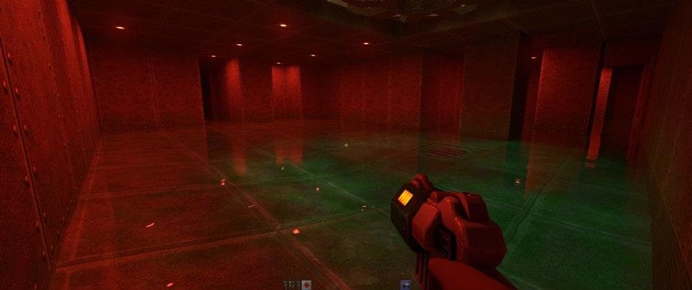 Odbicia świetlne w wodzie w grze Quake II RTX