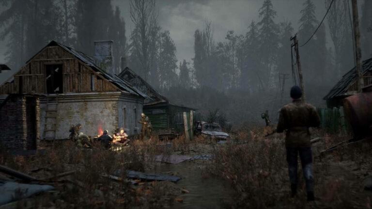 Grafika koncepcyjna z gry Stalker 2 prezentująca odświeżoną wersję wsi w Kordonie