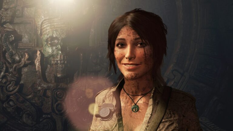 Uśmiechnięta Lara Croft z gry Shadow of the Tomb Raider