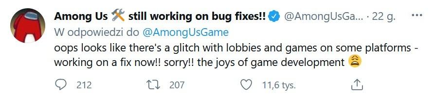 Wiadomość twórców Among Us na Twitterze odnosząca się do problemu