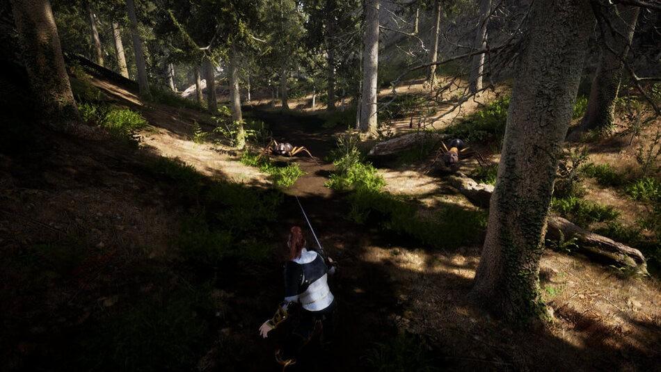 Bohater gry Farathan w leśnej lokacji