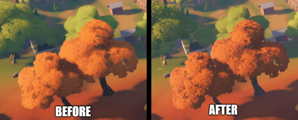 Porównanie grafiki w Fortnite przed i po łatce
