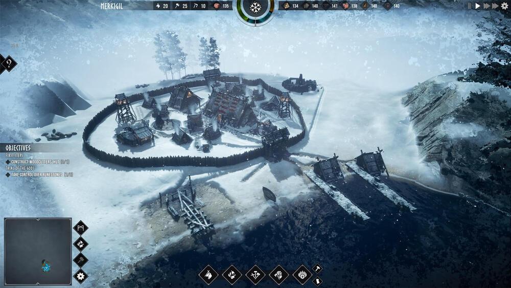 Zimowa osada w grze Frozenheim
