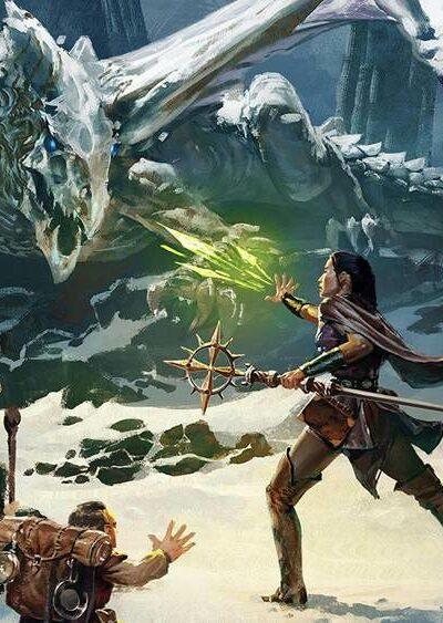 Postać z Dungeons & Dragons walcząca ze smokiem