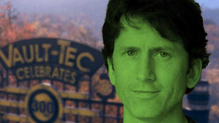 Todd Howard w kolorach Xboxa na tle świata z Fallouta