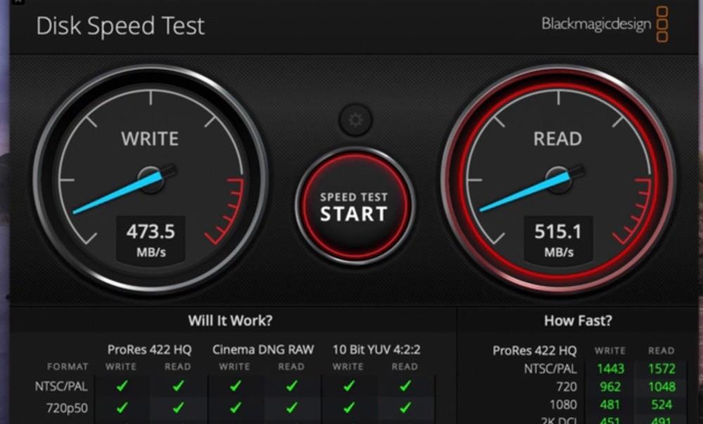 Wyniki testu prędkości dysku SSD ECLLPSE
