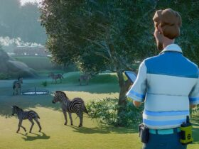 Screen z gry Planet Zoo z zebrami