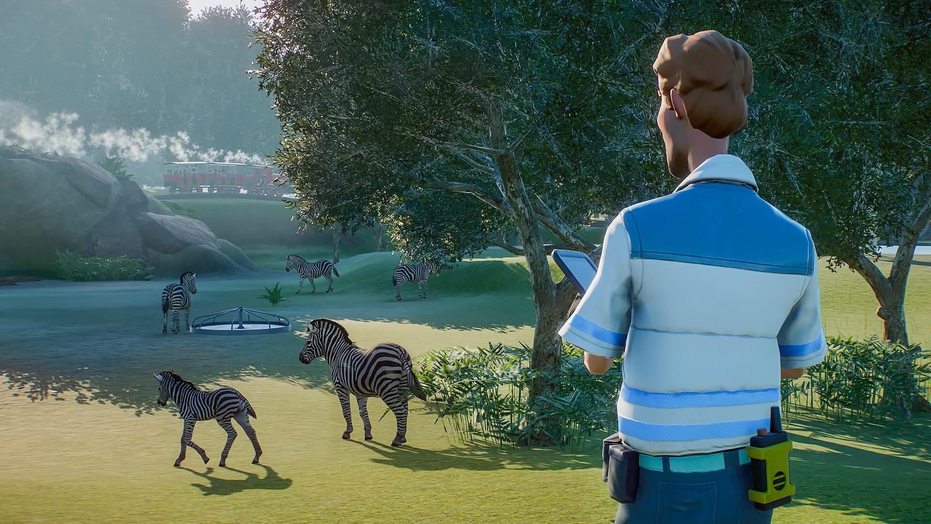 Screen z gry Planet Zoo z zebrami