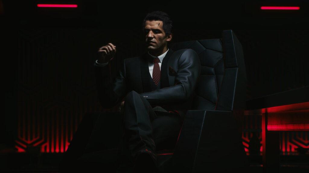 Przedstawiciel korporacji z Cyberpunka 2077.