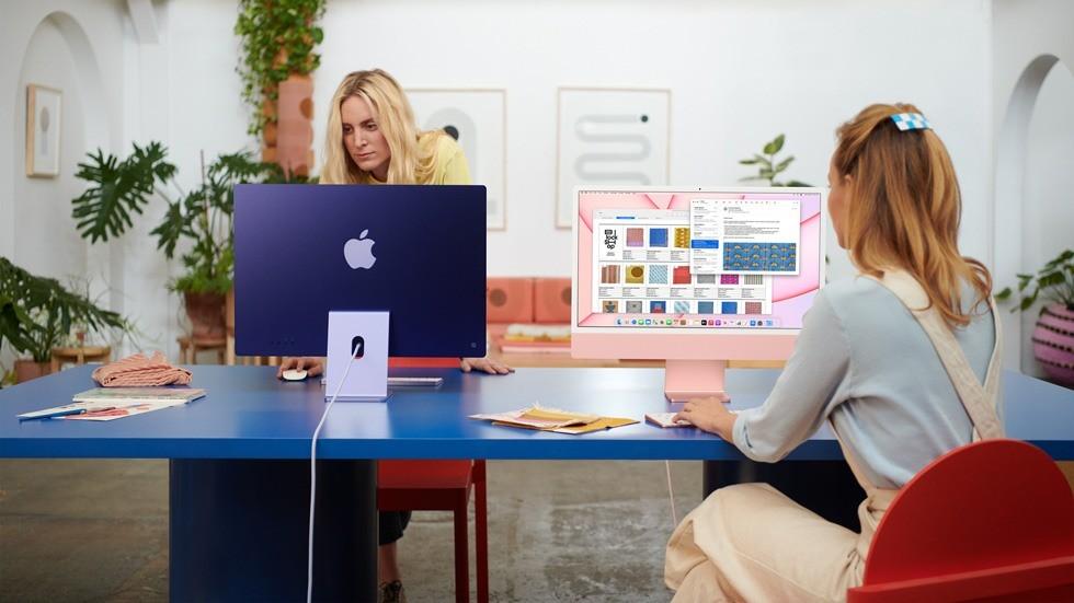 iMac 2021 w dwóch kolorach podczas pracy