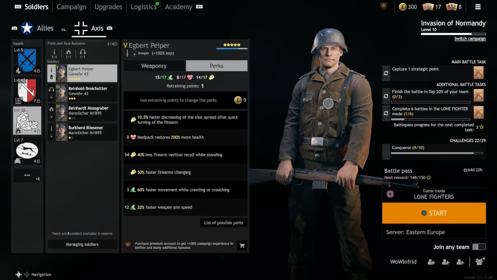Widok na ekran rozwoju perków żołnierza