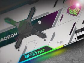 Grafika promocyjna karty Radeon RX 6900 XT Nitro SE z ujęciem na backplate