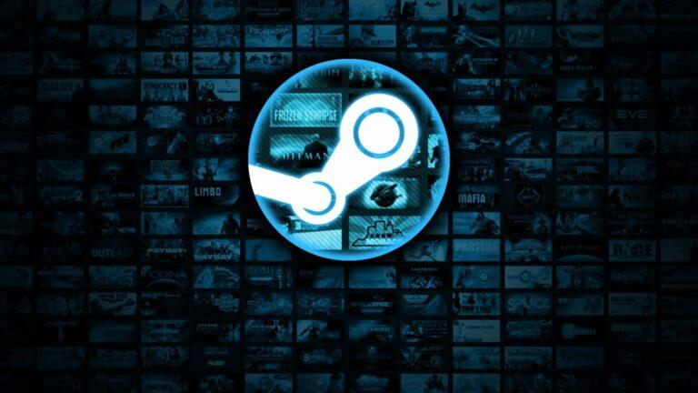Logo Steam na tle miniatur gier.