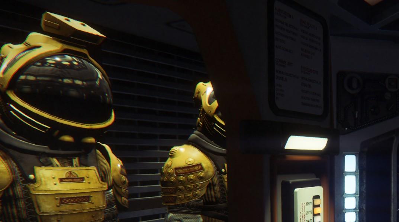 Aberracja chromatyczna w Alien: Isolation - włączona, zbliżenie.