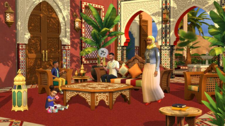 Wnętrze w The Sims 4 Courtyard Oasis Kit