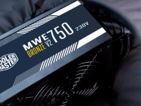 Zbliżenie na zasilacz Cooler Master MWE 750 Bronze V2