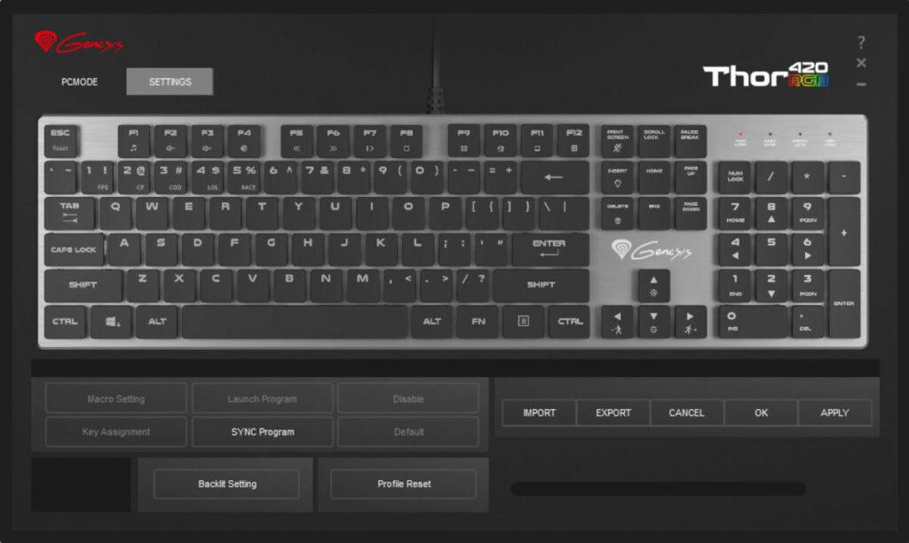 Zrzut ekranu z programu Thor 420
