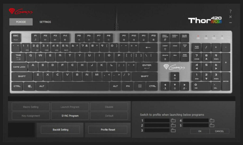 Test Genesis Thor 420 RGB - oprogramowanie