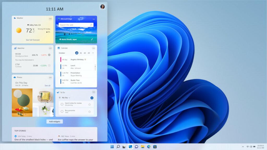 Ekran Widgets w Windows 11