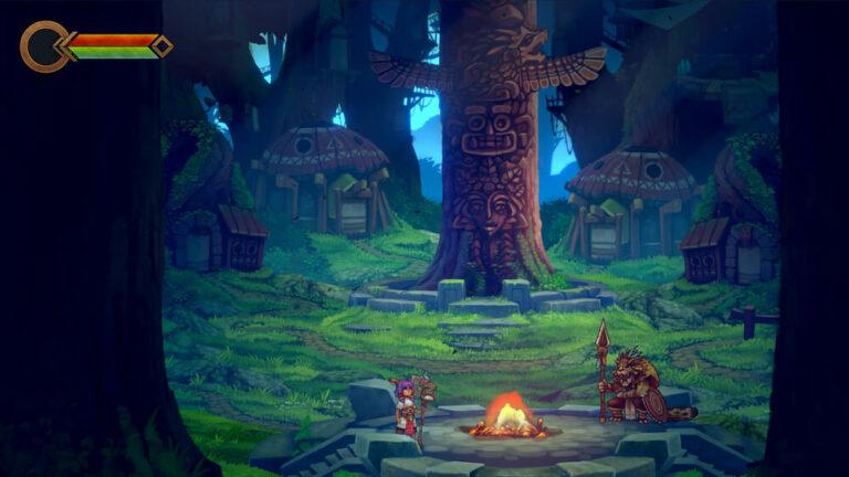 Leśna lokacja i bohaterowie gry ITORAH