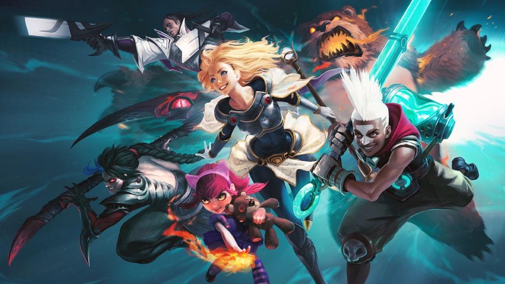 Grafika promocyjna z League of Legends, tworzonego przez należące do Tencentu Riot Games