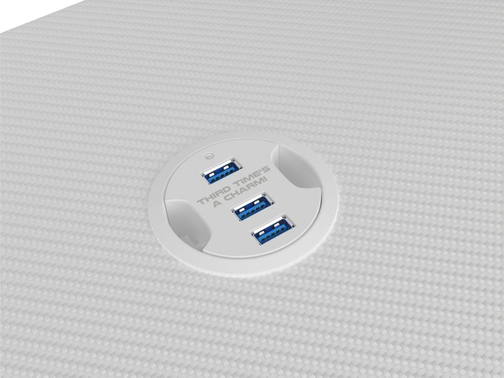 Hub USB w biurku Genesis Holm 320 RGB White
