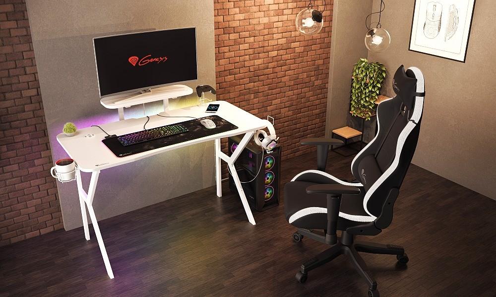 Genesis Holm 320 RGB White - stanowisko komputerowe z biurkiem