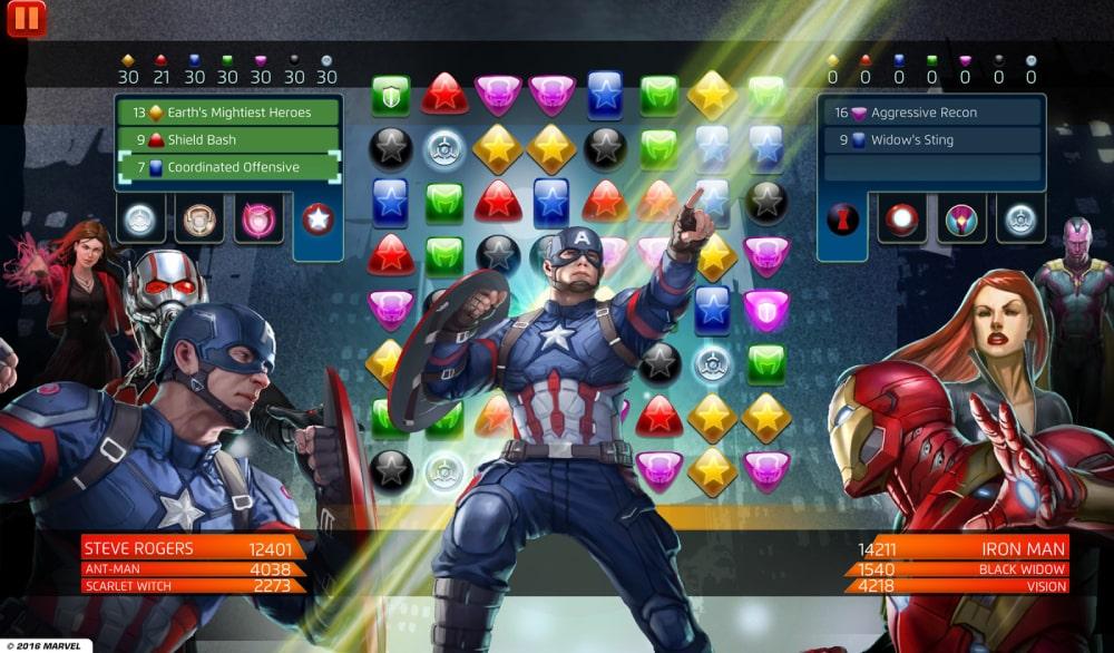 Kadr z gry Marvel Puzzle Quest stworzonej przez Demiurge Studios, nowy nabytek Embracer Group