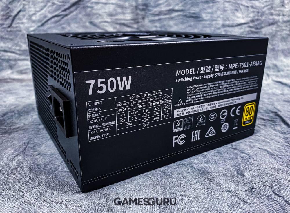 Test zasilacza Cooler Master MWE Gold 750 V2 -  tabliczka znamionowa