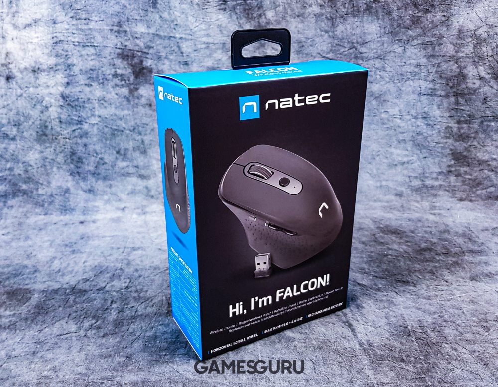 Zapakowane pudełko od myszy Natec Falcon