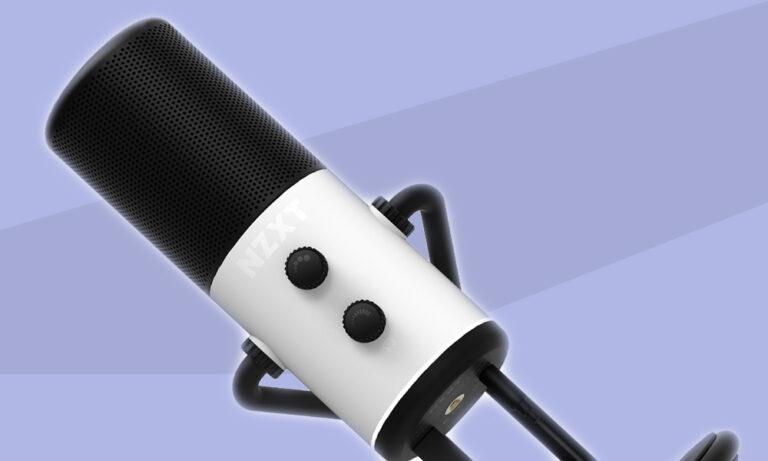 Mikrofon NZXT Capsule na błękitnym tle