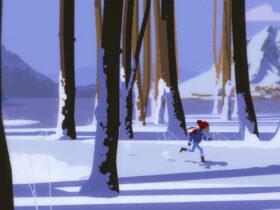 Bohaterka gry Roki w śnieżnej lokacji