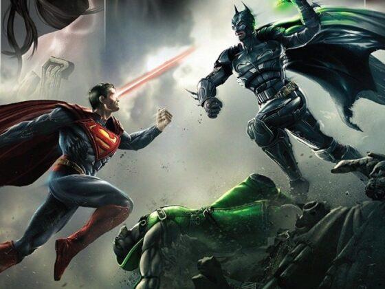 Batman walczący z Supermanem